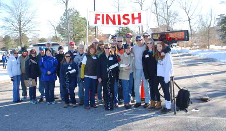 Volunteers operate the Cold Feet 5K