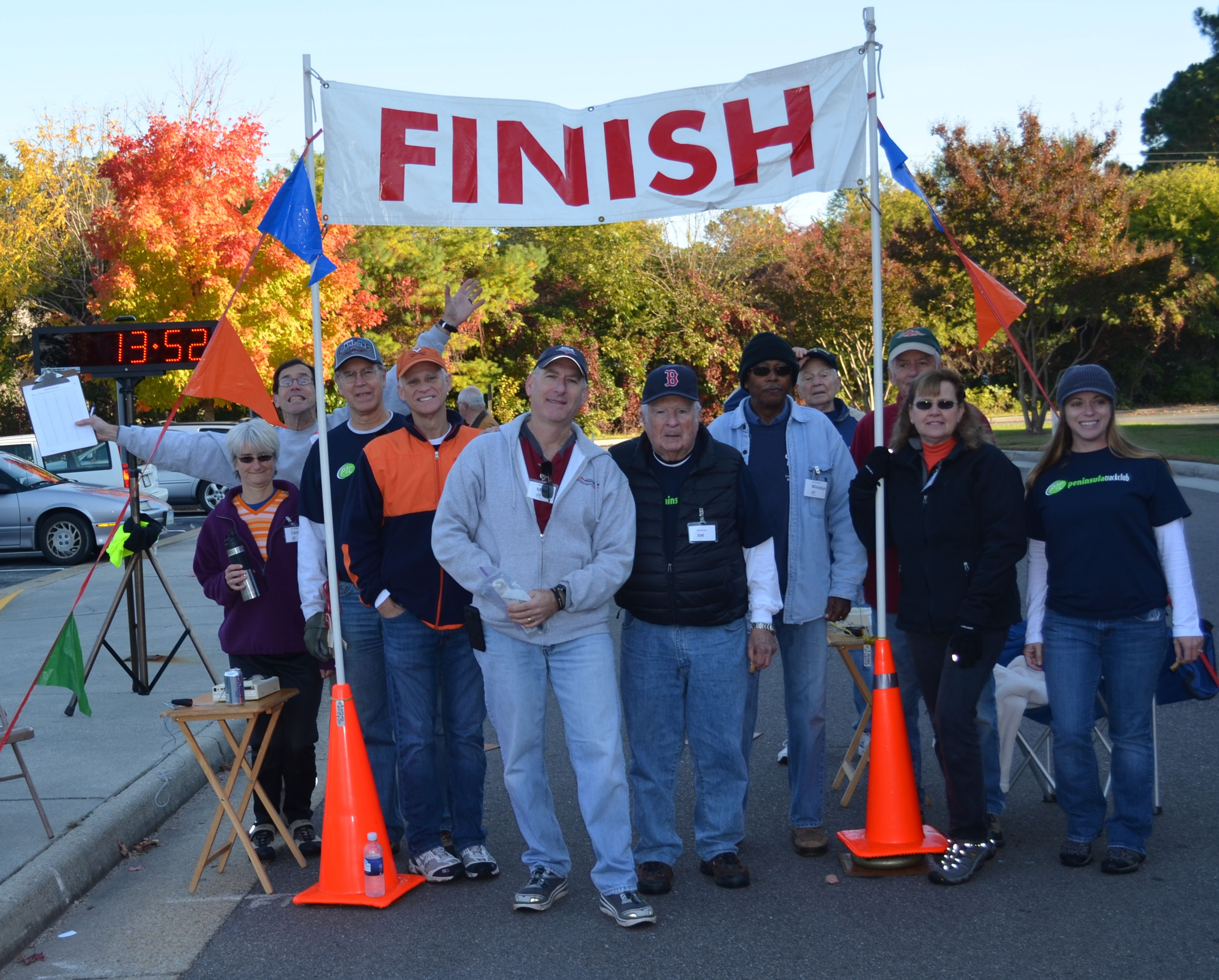 Volunteers at the finish line of the Poquoson Seafood Fest 5K, Oct. 2015